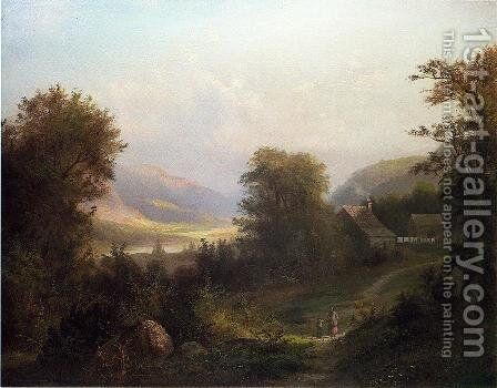 Hudson River Scene by David Johnson - Reproduction Oil Painting