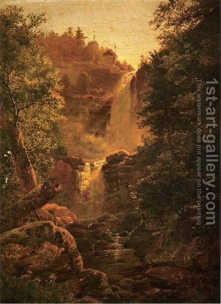 Kauterskill Falls by Edmund Darch Lewis - Reproduction Oil Painting