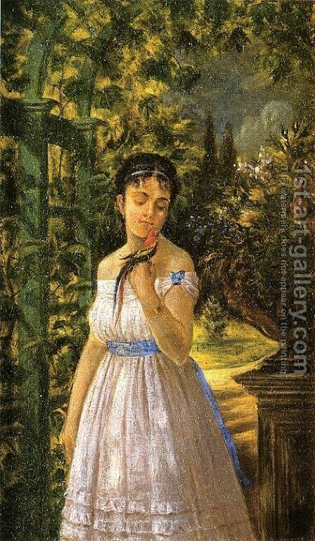 Young Girl with a Parrot by Edward Lamson Henry - Reproduction Oil Painting