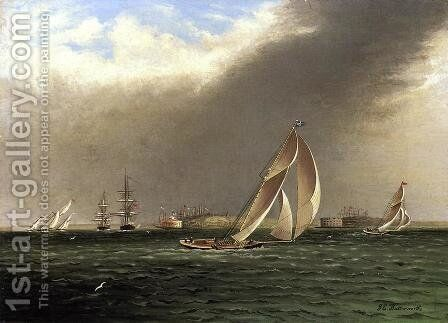 Yacht Racing off Castle Garden, New York by James E. Buttersworth - Reproduction Oil Painting