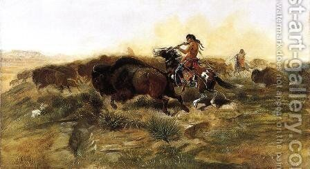 Wild Meat for Wild Men by Charles Marion Russell - Reproduction Oil Painting
