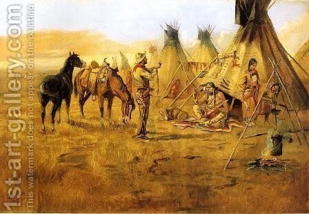 Cowboy Bargaining for an Indian Girl by Charles Marion Russell - Reproduction Oil Painting