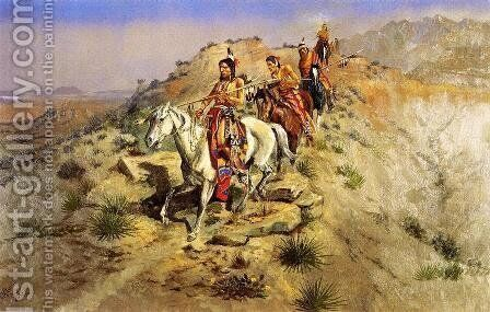 On the Warpath by Charles Marion Russell - Reproduction Oil Painting