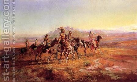 Sun River War Party by Charles Marion Russell - Reproduction Oil Painting