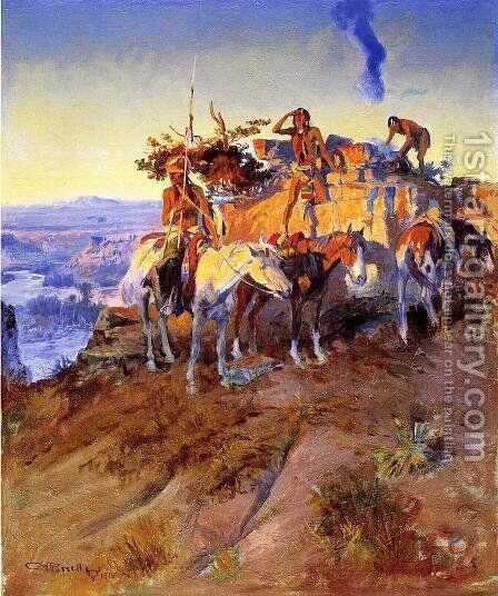 Signal Smoke by Charles Marion Russell - Reproduction Oil Painting