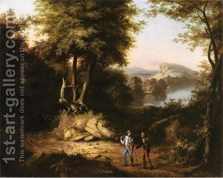 Hunters in a Landscape by Alvan Fisher - Reproduction Oil Painting