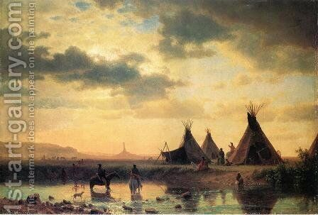 View of Chimney Rock, Ogalillalh Sioux Village in Foreground by Albert Bierstadt - Reproduction Oil Painting