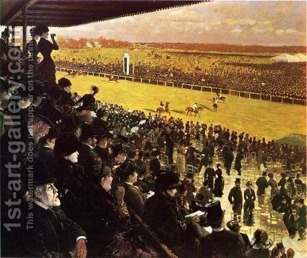 The Races at Longchamps from the Grandstand by Giuseppe de Nittis - Reproduction Oil Painting