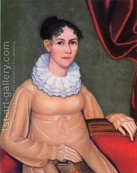 Portrait of Sally Morgan Walbridge by Ammi Phillips - Reproduction Oil Painting
