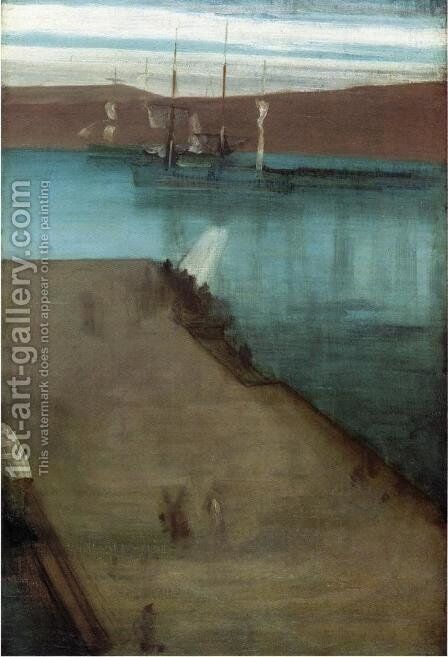 """Sketch for """"Nocturne in Blue and Gold: Valparaiso Bay"""" by James Abbott McNeill Whistler - Reproduction Oil Painting"""