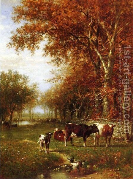 Cows before a Watering Hole by James McDougal Hart - Reproduction Oil Painting