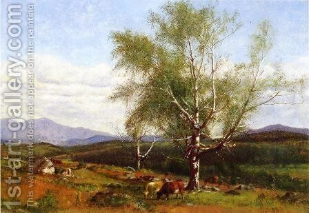 Cows Grazing in a Valley by James McDougal Hart - Reproduction Oil Painting