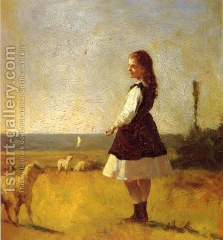 Feeding the Lamb by Eastman Johnson - Reproduction Oil Painting