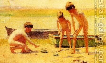 Boys Playing with Crabs by Thomas Anshutz - Reproduction Oil Painting