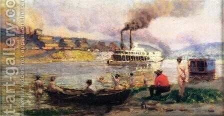 Steamboat on the Ohio I by Thomas Anshutz - Reproduction Oil Painting
