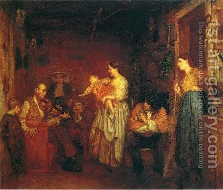 Fiddling His Way I by Eastman Johnson - Reproduction Oil Painting