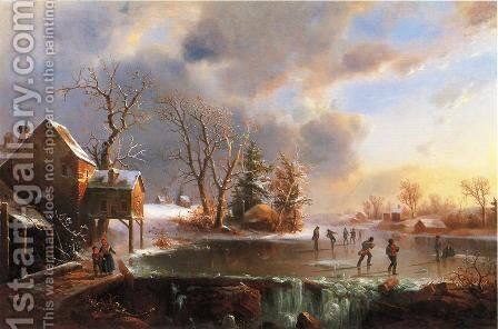 Skaters on a Frozen Pond by Marie-Regis-Francois Gignoux - Reproduction Oil Painting