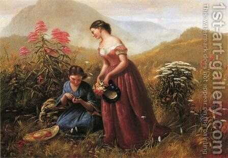 Gathering Wildflowers by Jerome B. Thompson - Reproduction Oil Painting