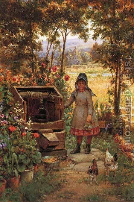 The Little Flower Girl by Edward Lamson Henry - Reproduction Oil Painting