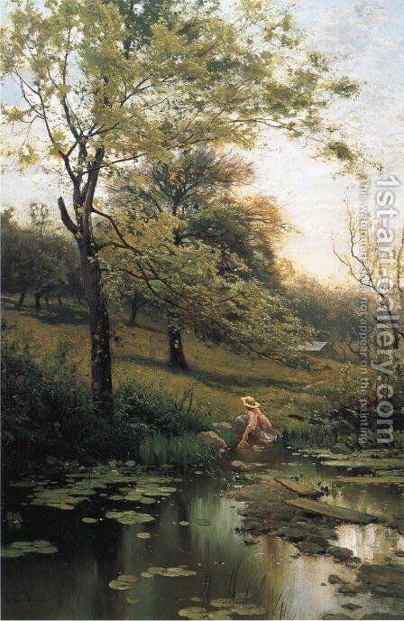 By the Lily Pond by Arthur Parton - Reproduction Oil Painting