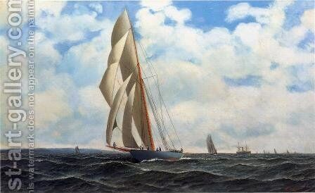 The Yacht Defender, on a Leeward Reach by Sandy Hook by Antonio Nicolo Gasparo Jacobsen - Reproduction Oil Painting