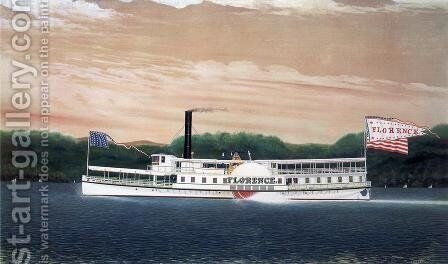 "The Steamboat ""Florence"" by James Bard - Reproduction Oil Painting"