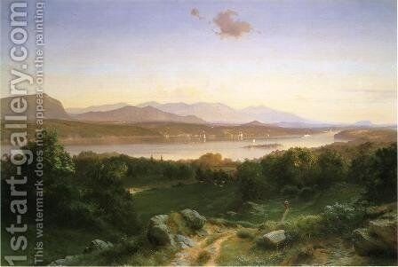 View of The Hudson from Hyde Park by Johann Carmiencke - Reproduction Oil Painting
