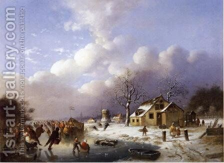 Skating Scene in Holland by Johann Mongels Culverhouse - Reproduction Oil Painting