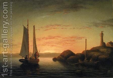 Sunset over Ten Pound Island by Mary Blood Mellen - Reproduction Oil Painting