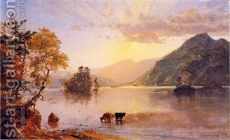 Lake George: Sun Behind a Cloud by Jasper Francis Cropsey - Reproduction Oil Painting