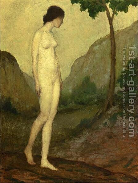 Nude in Landscape by Arthur Bowen Davies - Reproduction Oil Painting