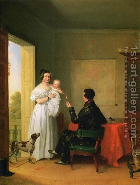 Offering Baby a Rose by James Goodwin Clonney - Reproduction Oil Painting