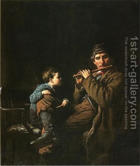 The Earnest Pupil by Eastman Johnson - Reproduction Oil Painting