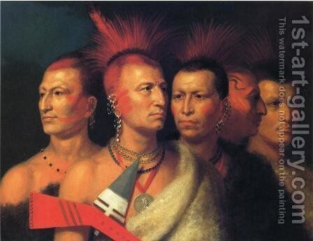 Young Omahaw War Eagle, Little Missouri, and Pawnees by Charles Bird King - Reproduction Oil Painting