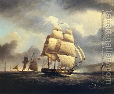 Frigate on the Thames by James E. Buttersworth - Reproduction Oil Painting