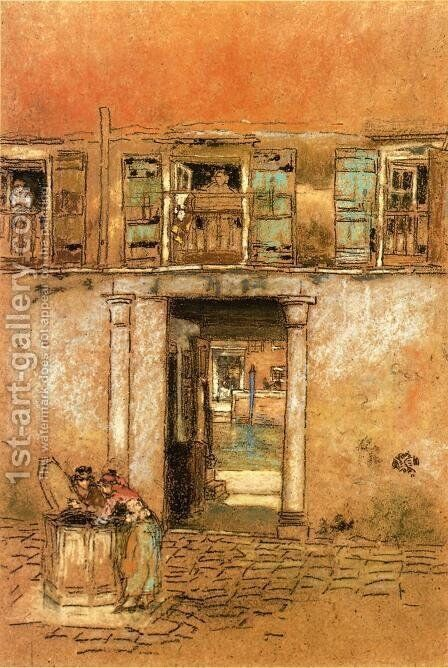 Courtyard and Canal by James Abbott McNeill Whistler - Reproduction Oil Painting