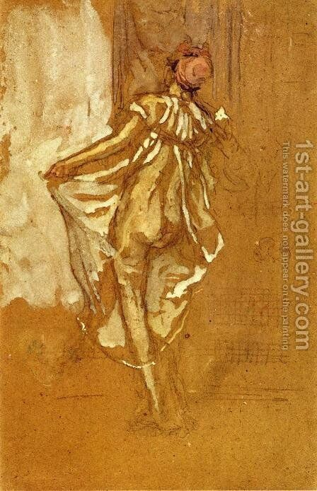 A Dancing Woman in a Pink Robe, Seen from the Back by James Abbott McNeill Whistler - Reproduction Oil Painting