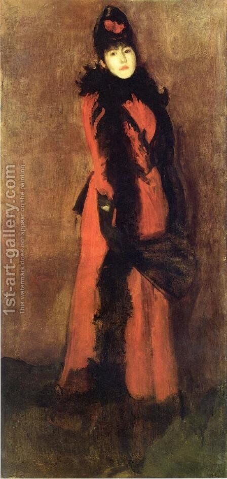 Red and Black: the Fan by James Abbott McNeill Whistler - Reproduction Oil Painting