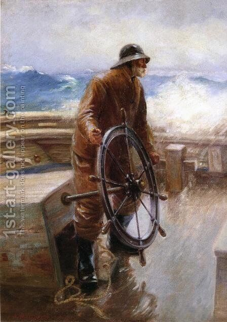 Fisherman at the Wheel by Augustus W. Buhler - Reproduction Oil Painting