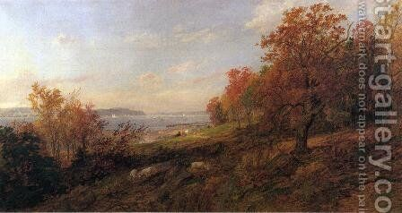 View from Hastings toward the Tappan Zee by Jasper Francis Cropsey - Reproduction Oil Painting