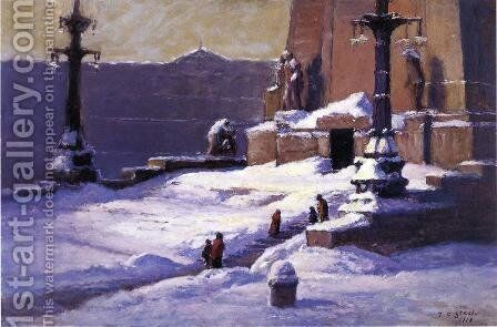 Monument in the Snow by Theodore Clement Steele - Reproduction Oil Painting