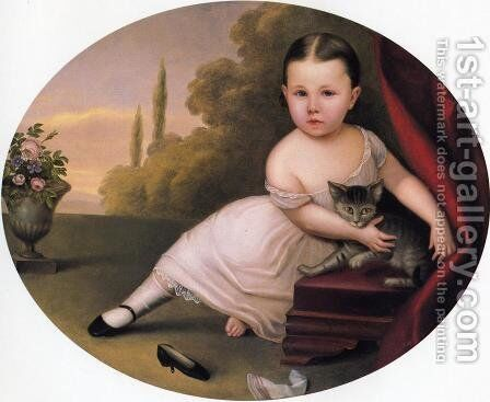 Young Girl with Cat by Nicola Marschall - Reproduction Oil Painting