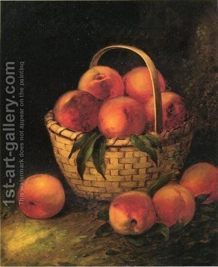 Basket of Peaches by Thomas Addison Richards - Reproduction Oil Painting