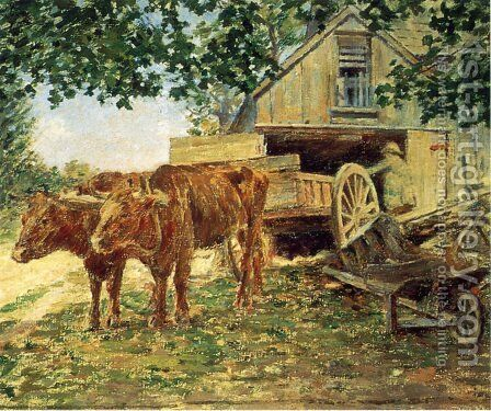 Oxen by Theodore Robinson - Reproduction Oil Painting