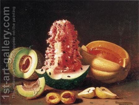Still Life with Melons, Pear and Peach by Edward Edmondson - Reproduction Oil Painting