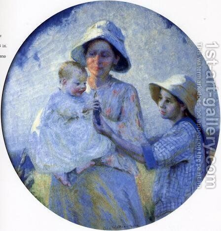 Mother and Two Children by Ada Walter Shulz - Reproduction Oil Painting
