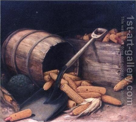 Barrel and Box of Corn with Scoup by Alfred Montgomery - Reproduction Oil Painting
