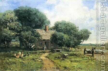 A Farm Along the River by Andrew Melrose - Reproduction Oil Painting