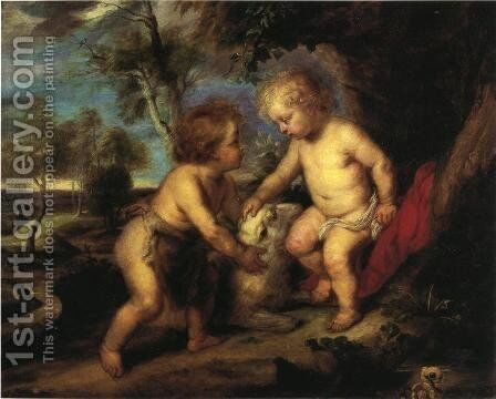 The Christ Child and the Infant St. John after Rubens by Theodore Clement Steele - Reproduction Oil Painting