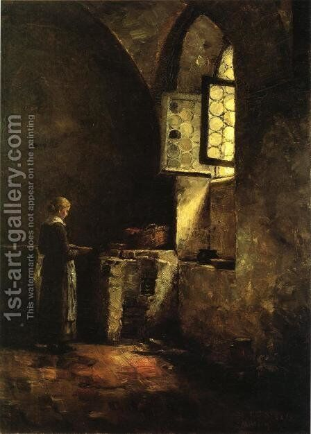 A Corner in the Old Kitchen of the Mittenheim Cloister by Theodore Clement Steele - Reproduction Oil Painting
